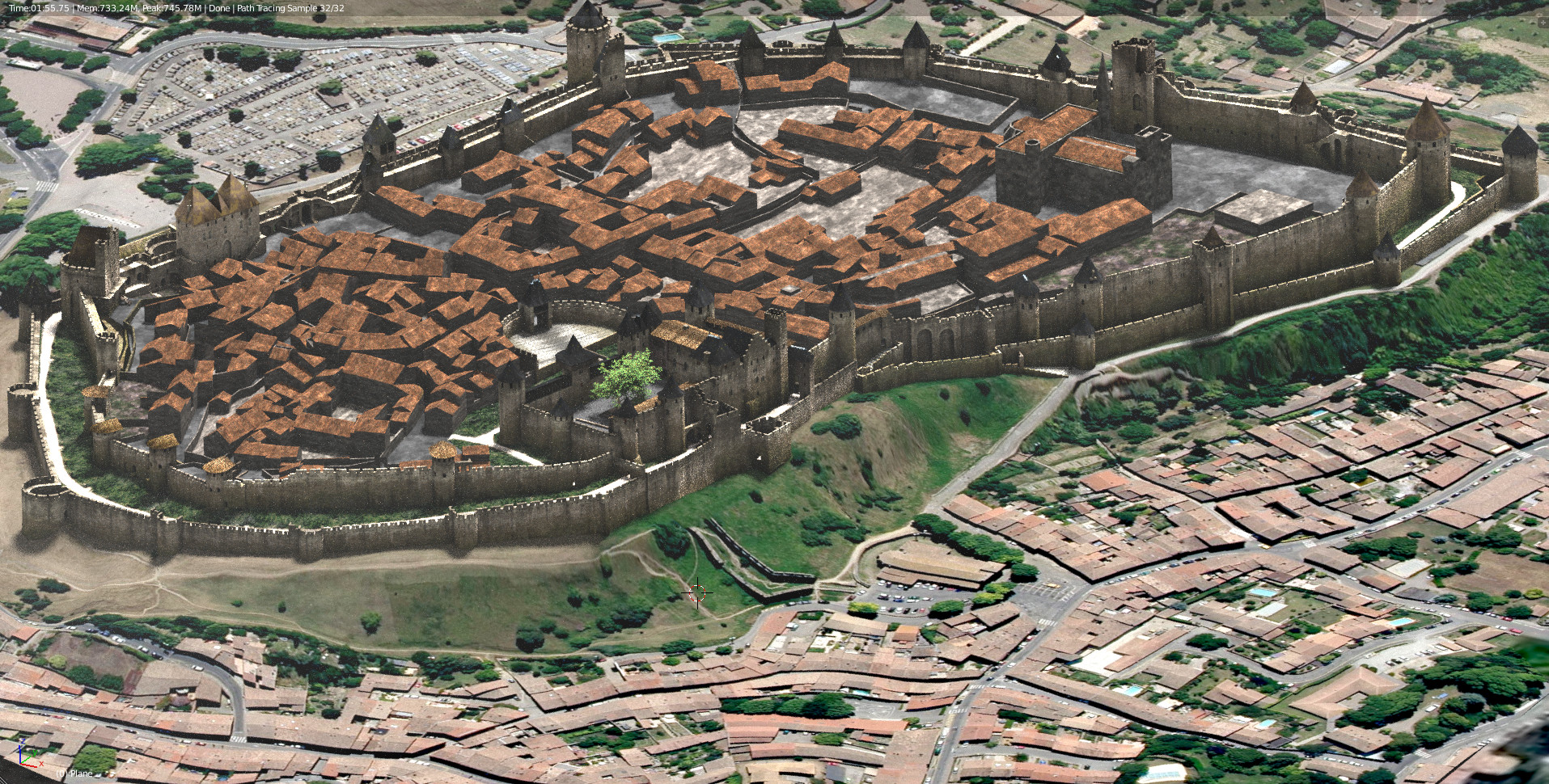 The medieval city in 3D seen from the sky.