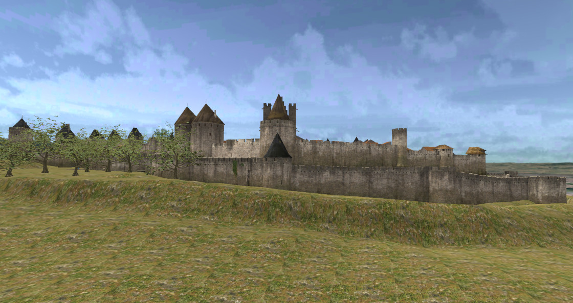 Carcassonne... Approaching the medieval city.