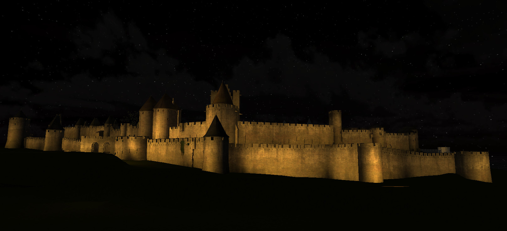 Carcassonne... Night time.